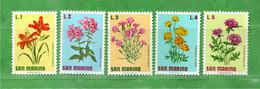 (Riz) San. MARINO **-1971 - FIORI - FLOWERS.  Unif. 836-837-838-839-840 -.Come Scansione.  MNH - Unused Stamps