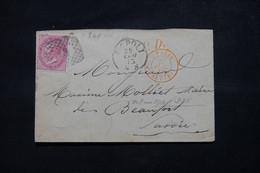 ITALIE - Enveloppe De Napoli Pour La France En 1873, Cachet D'entrée En France Par Chambéry - L 78356 - Marcofilía