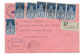 RACCOMANDATA DA BRA A ROMA  3.3.1947 - AVVENTO DELLA REPUBBLICA. - 1946-60: Marcofilie