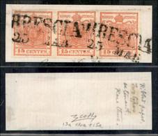 ANTICHI STATI ITALIANI - LOMBARDO VENETO - 1851 - 15 Cent (15a + 14a + 15a - Carta A Coste Verticali) - Striscia Orizzon - Non Classés