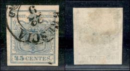 ANTICHI STATI ITALIANI - LOMBARDO VENETO - 1855 - 45 Cent (12d - Oltremare Grigio Chiaro) Usato A Brescia - Cert. AG (2. - Non Classés