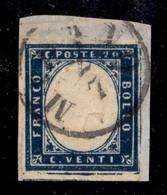 ANTICHI STATI ITALIANI - LOMBARDO VENETO - Provvisori 2.7. (59 - Secondo Giorno Del Governo Provvisorio) - 20 Cent Sarde - Non Classés