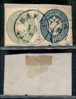 ANTICHI STATI ITALIANI - LOMBARDO VENETO - LEVANTE AUSTRIACO - Bakeu (azzurro - P.ti R) - 3 Soldi (42) + 10 Soldi (44) U - Non Classés