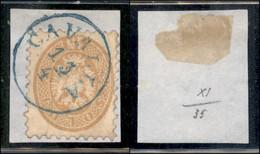 ANTICHI STATI ITALIANI - LOMBARDO VENETO - LEVANTE AUSTRIACO - Cavalla (azzurro - P.ti 12) - 15 Soldi (45) Usato Su Fram - Non Classés