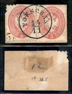ANTICHI STATI ITALIANI - LOMBARDO VENETO - LEVANTE AUSTRIACO - Fokschan (azzurro - P.ti 12) - Due 5 Soldi (43) Usati Su  - Non Classés