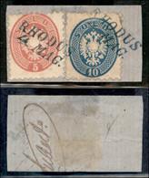 ANTICHI STATI ITALIANI - LOMBARDO VENETO - LEVANTE AUSTRIACO - Rhodus (azzurro - P.ti 12) - 5 Soldi (43) + 10 Soldi (44) - Non Classés