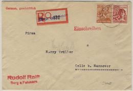 Kontrollrat - 60+24 Pfg. Arbeiter, Einschreibebrief Burg (Fehmarn) - Celle 1947 - Unclassified