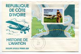 RC 19297 COTE D'IVOIRE BF N° 7 BLOC FEUILLET LINDBERGH 1977 FDC 1er JOUR - TB - Vliegtuigen