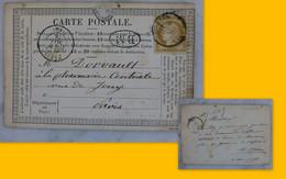 DOURDAN Pour Paris 1875, CP Précurseur 15 C Ceres, Cachets, B.M. RARE, Ref 2328 ; Ref CP05 - 1849-1876: Periodo Clásico