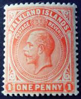 Falkland 1912 George V Filigrane CA Watermark Crown CA Yvert 27 * MH - Falkland Islands