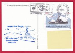 4419 Marine, CP PH Jeanne D'Arc, Campagne 2009-2010, 1er Jour De La Flamme, Oblit. Mécanique JDA, 02-12-2009, Timbre Jea - Posta Marittima