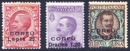1923 CORFU' N.9/11 NUOVI* TRACCIA DI LINGUELLA CON VARIETA' TIMBRINO BOLAFFI - MLH SIGNED BOLAFFI + VARIETY - Corfu