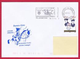 4443 Marine, PH Jeanne D'Arc, Campagne 2009-2010, Escale à Buenos Aires, Argentine, Oblit. Manuelle JDA, 14-01-2010, Mar - Posta Marittima