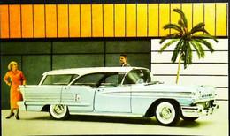 ► OLDSMOBILE Super Fiesta Wagon 1957  - BEEBE Garage HOLLY Michigan  - Automobile Publicity  (Litho. U.S.A.) - Roadside - Rutas Americanas