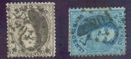 N°14/15 - Médaillons 10 Centimes Brun Et 20 Centimes Bleu, Obl. LP.201LILLE-Saint-HUBERT. N. RR !. -TB - 16489 - 1863-1864 Médaillons (13/16)