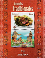 Peru - 2019 - America UPAEP - Traditional Dishes - Mint Souvenir Sheet - Perú