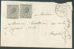 N°17 - 10 Centimes Gris (x2) Obl. LP. 342 Sur Enveloppe De STAVELOT Le 4.3.1869 Vers Bruxelles -TB - 16490 - 1865-1866 Profil Gauche