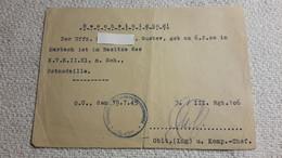 Zettel Bescheinigung Ist Im Besitze  Des K.V.K. II Klasse M. Schwertern , Ostmedaille 19.7. 1945 Orden Abzeichen 2 WK - 1939-45
