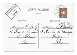 PETAIN 80 Cents  Complément Taxe Perçu Oblitéré LE BLANC Indre 1943 France Entier Carte Postal - Standard Postcards & Stamped On Demand (before 1995)