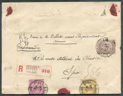 N°46-49-50 - 10c. Rouge, 35c. Brun Et 50c. Ocre, Obl. ScANVERS(PALAIS)s/L. Recom. Du 21 Févr. 1893 De7 Ports(95,5 Gr - 1884-1891 Léopold II
