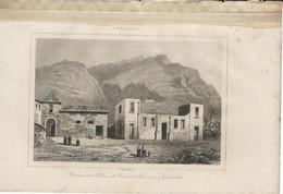 CANARIES RUINES PALAIS DES COMTES DE GOMERE GARACHICO 1835 INCISIONE DI LEMAITRE ENGRAVING GRAVURE - Stiche & Gravuren