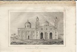 CANARIES CATHEDRALE DE GRAND CANARIE 1835 INCISIONE DI LEMAITRE ENGRAVING GRAVURE - Stiche & Gravuren