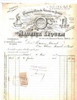 PARIS - 1912 Facture Illustrée - Compteurs D'Eau De Volume En Bronze - MAURICE EYQUEM - 1900 – 1949