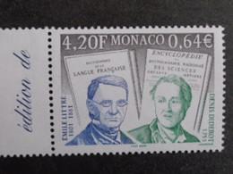 MONACO 2001 Y&T N° 2308 - BICENTENAIRE NAISSANCE E. LITTRE ET ECRIVAIN DENIS DIDEROT - Nuovi