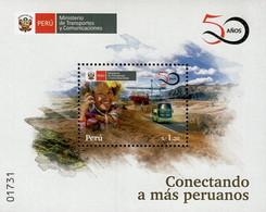 Peru - 2019 - 50 Years Of Transport Ministry - Mint Souvenir Sheet - Perú