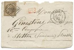 N° 28 NAPOLEON SUR LETTRE / NIMES POUR STETTIN POMERANIE PRUSSE / 11 OCT 1870 / PRISONNIER DE GUERRE - 1849-1876: Periodo Clásico