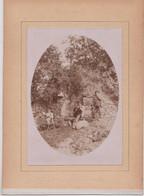 2 Photos  Originales Albuminées Sur Carton Le Faouet (56) Four à St Fiacre Avec Personnages Vallée De Ste Barbe - Oud (voor 1900)