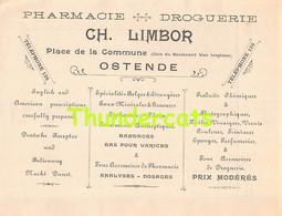 VOORSCHRIFT PRESCRIPTION OOSTENDE OSTENDE PHARMACIE DROGUERIE LIMBOR PLACE DE LA COMMUNE LEOPOLD - Oostende
