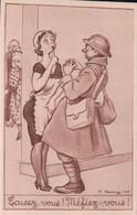 Taisez-vous! Méfiez-vous (humour Militaire Illustrateur P. Remy 1940) - Humour