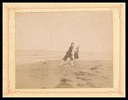 PHOTO CDV Albuminée Sur Carton - Avant 1900 - Une Sortie Du Bain à LION SUR MER - Animée - CALVADOS - Antiche (ante 1900)