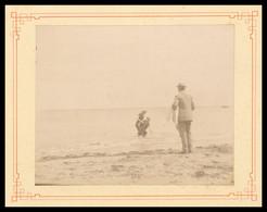 PHOTO CDV Albuminée Sur Carton - Avant 1900 - Un Bain à LION SUR MER - Animée - CALVADOS - Antiche (ante 1900)