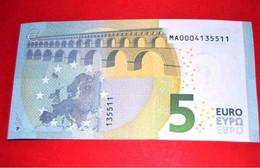 5 EURO M001 E6 PORTUGAL M001E6 - LOW Serial Number MA0004135511 - UNC FDS NEUF - 5 Euro