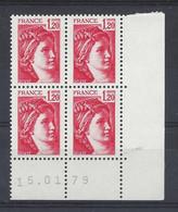 SABINE N° 1974 - BLOC De 4 COIN DATE - NEUF SANS CHARNIERE - 15/01/79 - 1960-1969