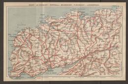 CARTE PLAN 1924 - BRETAGNE - BREST - LE CONQUET - PORTSALL - BRIGNOGAN - PLOUESCAT - LANDERNAU - LANDIVISIAU - Cartes Topographiques