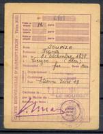 Carte Individuelle D'Alimentation - Titre 3021 - MAIRIE LE BOURGET SEINE 1946 - Feuille Trimestrielle De Coupons - (1) - Documentos Históricos