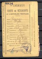 Carte De Vetements Et D'Articles Textiles Avec Coupons - LE BOURGET SEINE - 5/12/1944 - (1) - Documentos Históricos