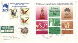 (X 6) Australia - National Stamp Week 1982 Over Brisbane Commonwealth Games M/s - Certified Mail - Cartas