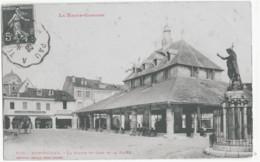 MONTREJEAU - LA STATUE ST-JEAN ET LA HALLE - BELLE ANIMATION - 1908 - Montréjeau