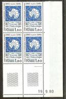 TAAF N°91** Bloc Coin Daté De 4 Valeurs (19/9/1980) - COTE 14.40 € - Ungebraucht