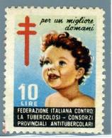 E 12 - CHIUDILETTERA L. 10 FEDERAZIONE ITALIANA CONTRO LA TUBERCOLOSI - Cinderellas