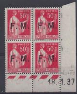 FRANCHISE MILITAIRE N° FM 7 - Bloc De 4 COIN DATE NEUF SANS CHARNIERE - 18/1/37 - 1930-1939