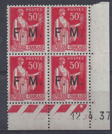 FRANCHISE MILITAIRE N° FM 7 - Bloc De 4 COIN DATE NEUF SANS CHARNIERE - 12/4/37 - 1930-1939