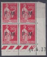 FRANCHISE MILITAIRE N° FM 7 - Bloc De 4 COIN DATE NEUF - 14/4/37 - 1930-1939