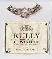 """Étiquette Et Millésime """" RULLY Monopole Clos De La Folie 2016 """" (1651) _ev281 - Bourgogne"""
