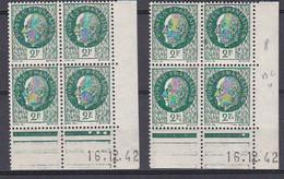 Cd479 YvT 518 Petain Type Bersier 2f  Variété 2E 2 Cd Date 16/12/42 4ème Tirage Planche B+C N** - 1940-1949
