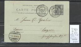 Levant - Entier Sage De France  Jerusalem Bureau Français - 1903 Pour Lucerne En Suisse - Briefe U. Dokumente